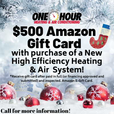 $500 amazon gift card with the purchase of a new high efficiency heating and air system